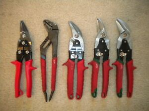 5 pieces of Milwaukee  Cutting  Snips + one Wiss,   **Excellent**