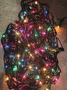 Colored Bulb String Christmas Lights on Green Strand 1 Strand 100 Light Bulbs