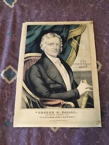 Original 1844 Hand Tinted Currier Lithograph George Dallas VP Candidate $175.96