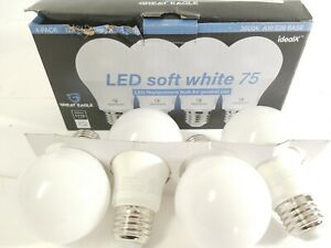 NEW 4x Great Eagle LED Soft White 75 3000k A19 E26 Base 1110 Lumens
