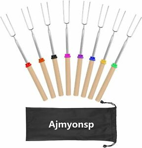 Ajmyonsp Marshmallow Roasting Sticks Smores Skewers Wooden Handle 32Inch Extenda