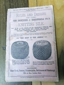 Antique Catalogue 1881 Rules and Designs Using Knitting Silk Victorian Patterns $44.99