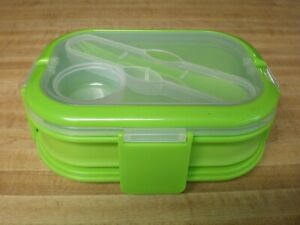 1600ml Silicone Collapsible Lunch Box Double Layer Portable Bento Box