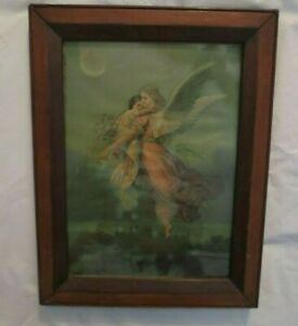 ANTIQUE H. HALLET amp; CO. MAINE FRAMED quot;ANGELquot; CHROMOLITHOGRAPH Dated 1879 $54.00