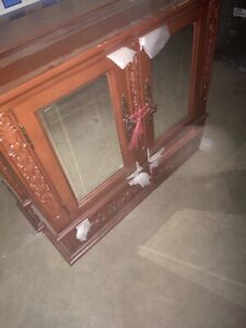 Home Decorators Collection Winslow Double Mirrored Wall Cabinet Antique Cherry