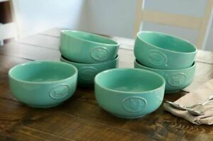 Farmhouse Stoneware Bowls with Antique Finish Turquoise 6 Pack