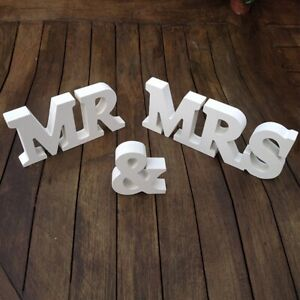 Mr Mrs Classic White Wooden wedding Sign