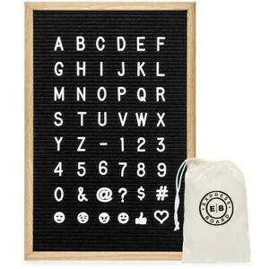 Felt Letter Board 12x18 Inch. 700 White Letters and Emojis: 1 and ¾ Inch Letters