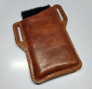 Black amp; Brown Leather EDC Belt Pocket Pouch for Cell Phone