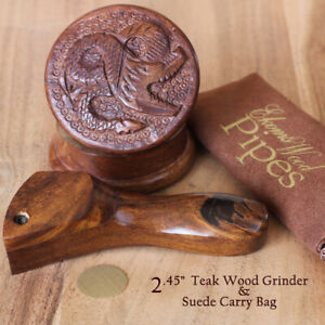 Curved Hand Carved Smoking Pipe Premium Wood amp; Dragon Grinder with Suede Bag $18.97