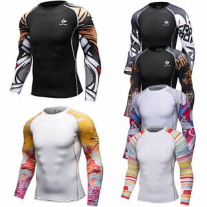 Mens Compression Tops Long Sleeve Tights Under Base Layer Gym T shirts Quick Dry $8.69