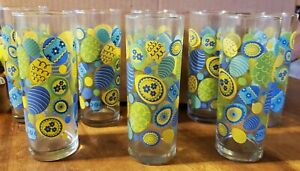 8 pc Vintage Indianna Glass Tall Cocktail or Drinking Glasses Easter Egg
