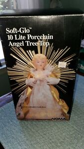 Noma Vintage Soft Glo 10 Lite Porcelain Angel Tree Top Lighted Christmas Topper