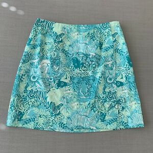Women's Lilly Pulitzer Vintage Blue Tigers Lions Animals Skirt sz 8