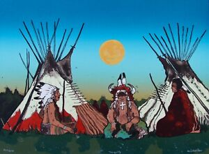 Crow artist Kevin Red Starquot;Tranquilityquot; Original Stone Lithograph Lt Ed1978 $450.00
