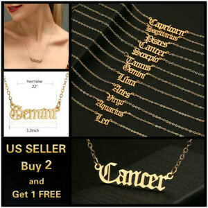 Women Gold Necklace Simple Letters Twelve Constellations Pendant Choker Jewelry $3.99