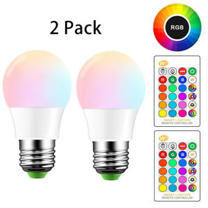 E26 LED Light Bulbs RGB Color Changing 5W A19 Cool White Bulb with Remote 2 Pack