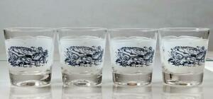 4 Vintage Currier and Ives Blue by Royal Old fashioned Glasses 6 oz $20.99
