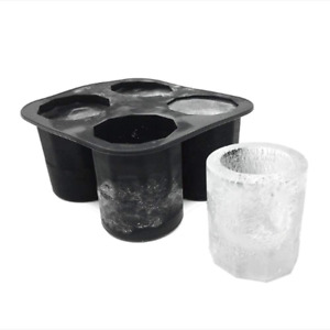 """Silicone Shot Glass Mold Frozen Whiskey Ice Cubes Tray 4 cups of 2"""" x 1.3quot;"""