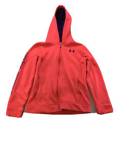 Under Armour Girls Pink Storm Fleece Loose Fit Full Zip Hoodie Sz L $11.97