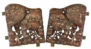 Large Pair of Antique Chinese Wood Carving Carved Panel w Foo Dog 19th c $850.00