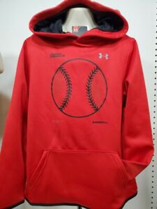 Boys Kids Youth UNDER ARMOUR Pullover Hoodie NEW Red Baseball Small $22.39