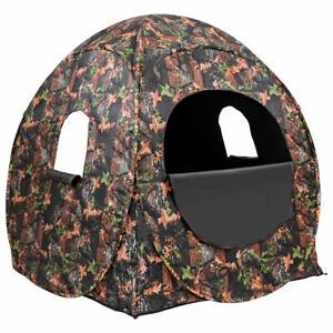 Portable Hunting Blind Pop Up Ground Camouflage Weather Resistant Enclosure