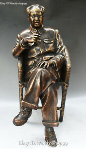 17quot; China Bronze People Man Seat Chair Great Leader Mao Zedong Chairman Statue $764.15