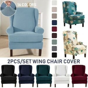 2 Pieces Back Chair Cover Elastic Armchair Wingback Wing Sofa Stretch Slipcovers