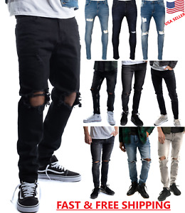 Mens Slim Fit Jeans Super Stretch Denim Pants Slim Skinny Ripped Designer Jeans