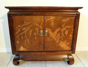 Vintage Drexel Chinoiserie Asian Mahogany Console Side End Accent Table Cabinet