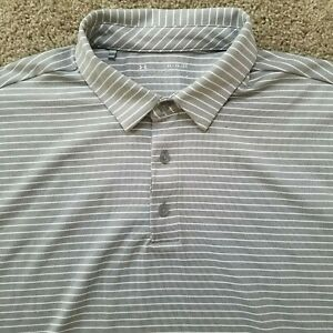 Under Armour XL Loose Heatgear Polo Shirt Gray and White Striped $17.99
