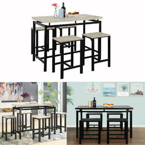 5pcs Counter Height Pub Bar Table Kitchen Furniture Dining Table for Home Office