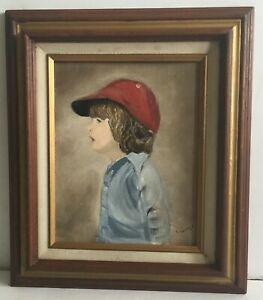 L. Currier Original Oil Portrait of Young Boy with Cap Signed Frames Maine $39.00