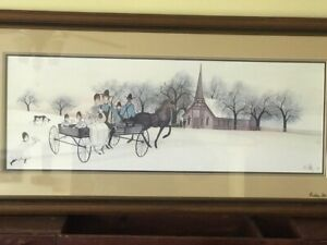 P Buckley Moss Valley Wedding Lithograph 1985 Triple Mat and Double Signed Retir $500.00