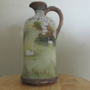 ANTIQUE MORIAGE NIPPON JUG HAND PAINTED 2 SWANS SCENE GREAT SIZE