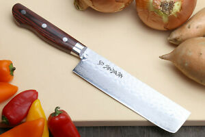 Yoshihiro16 Layer Hammered Damascus Steel Nakiri Vegetable knife 6.5quot; 165 mm