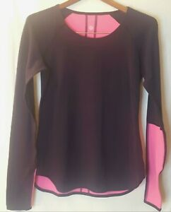 LULULEMON Wunder Under Womens Long Sleeve Top Navy Blue and Pink Thumb Holes $30.00