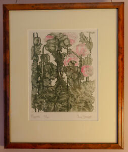 Artistic original etching of poppies signed $40.00