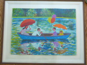 TRINIDAD OSORIO ORIGINAL SERIGRAPH SIGNED NUMBERED FAMILY BOATING IN LAKE $299.99