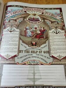 Antique Lithographs **125Year Old** Large Bible Printed 1895 Temperance Movement $49.00