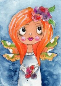 ACEO Original Painting Fairy sweet illustration Whimsical Art by FAiRyPiGGleS $10.00