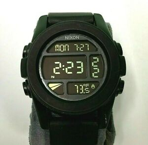 Nixon The Unit SS Black watch 44.5 mm Digital WITH BLACK RUBBER band Temperature $79.99