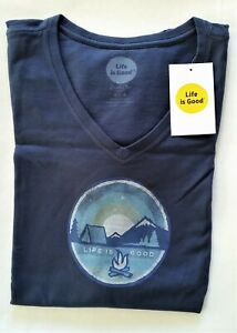 Life Is Good SS Shirt Crusher Vee CAMPING COIN Tent Stars Blue Chest 44 Womens L