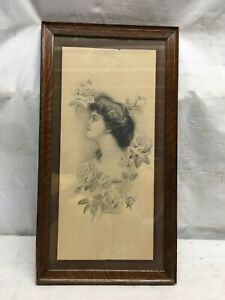 Vintage Victorian Lady With Roses Print in Walnut Wood Frame 21.5in x 11.5in $80.99
