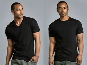 6 Pack Mens Crew V Neck T Shirts Black 100% Cotton Undershirt Tee S 3XL $21.99