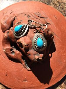 Ella Peter Signed Stamped Sterling Silver Navajo Dangle Turquoise Earrings $350.00