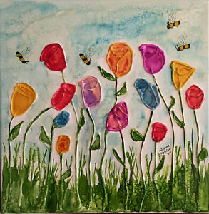 Original painting 14x14quot; textured colorful flowers bees Canvas by Lynne Kohler $105.00