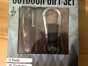 Outdoor Gift Set Camping Multi Function Tool and Compass 16 Features in 2 Tools