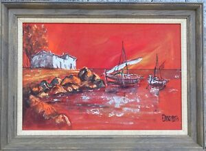 Mid Century Ed Dorenbos Seascape Painting 1971 Framed Signed Canvas Board $299.95